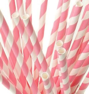 """Baby Pink And White Striped Paper Straws 8"""" (20cm) Biodegradable Compostable"""