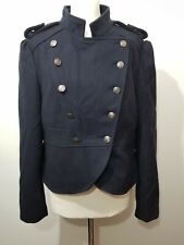 Poetic Sand Navy Wool Blend Military Style Jacket Coat UK 16 44 Buttons