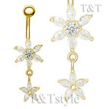 T&T 14k Gold GP Clear CZ Flower Dangle Belly Bar Ring BL126J