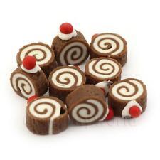 5 Miniatura Para Casa De Muñecas Chocolate BRAZO GITANO CON CEREZA Tops