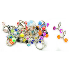 Wholesale Pack 50 pcs Surgical Steel Twisted Colored Barbell Spiral Navel Ring