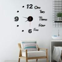 3D Modern DIY Large Number Mirror Wall Sticker Big Watch Home Decor Art Clock