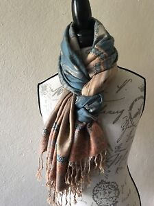 NEW Scarf PASHMINA mens STOLE long Wrap Shawl Indian GREEN beige Soft scarves US