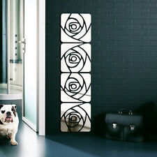 3D Mirror Acrylic Wall Sticker Flower Mural DIY Removable Art Decal Home Decor