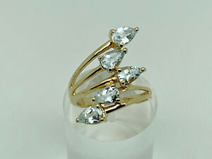 Gorgeous Modern Gold on Sterling Silver Natural Aquamarine Cocktail Ring Size N