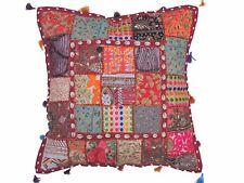 "Cowrie Shell Sari Floor Pillow Cover - Beadwork Ethnic Patchwork Euro Sham 26"""