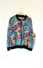 Kathryn Deene Bomber Jacket Women's XL Abstract Colorful All Over Print Art VTG