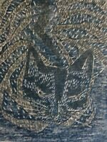 K. Voß (XX) - Impressionismus Farb-Lithographie 1983: Katze im Nebel