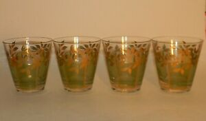 Culver Bamboo Green & Gold Leaf Double Old Fashioned Glasses Set / Lot of 4