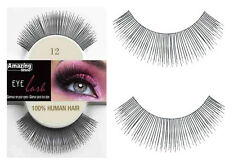 100% Natural Pair of Human Hair False Eyelashes Eyelash Black Fake Eye Lashes