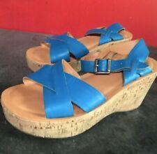 KorkEase Cork Wedge Sandal-Blue Size 37