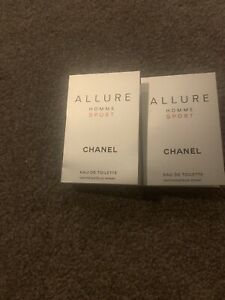 CHANEL ALLURE HOMME SPORT COLOGNE SPORT 1.5ml .05fl oz x 2 SPRAY SAMPLE VIAL LOT