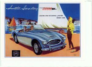 1960 Austin Healey 3000. Nostalgic greeting card. Hand made, blank inside.(4289)