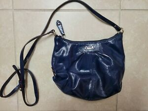 COACH ASHLEY F46872 COBALT BLUE PATENT LEATHER CROSSBODY