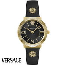 Versace VEVE00319 Glamour Lady gold black Leather Women's Watch NEW