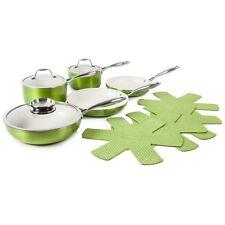 Tower 9 Piece Pro Metallic Aluminium Green Kitchen Pan Set With Felt Protector