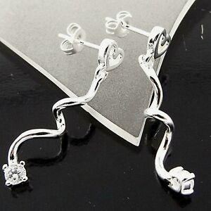 Stud Earrings 925 Sterling Silver Filled Diamond Simulated Long Dangly Drop