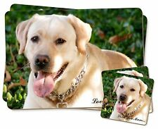 Yellow Labrador Dog 'Love You Mum' Twin 2x Placemats+2x Coasters Se, AD-L48lymPC