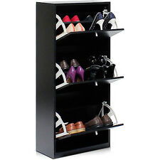 Furinno FNAJ-11042-1 3-Tier 3-Door Shoe Storage Cabinet, Black