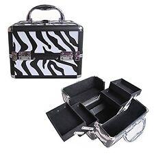"8"" Pro Aluminum Makeup Train Case Jewelry Box Cosmetic Organizer Zebra 4 Trays"