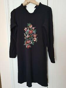 M&S FLORAL FOLK BLACK DRESS UK 14