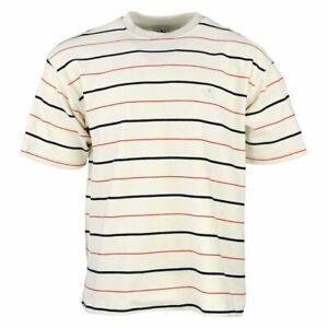Adidas Men's Short Sleeve Velour Jersey Shirt, Off White, Red & Navy Stripes