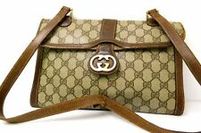 Gucci GG Monogram Hand Bag Shoulder bag Pochette Purse Brown Junk Use for parts