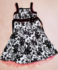 Disorderly Kids Party Dress Size 16 Black Pink White Floral Print