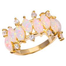 Silver Yellow Gold Filled White Opal CZ Women Jewelry Gems Ring Sz 7 8 9 OJ8887