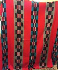 """Large Pendleton Beaver State Wool Blanket Red Blue USA 78.5"""" x 81"""""""