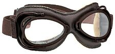 Nannini Streetfighter Brown Leather Tan Clear Lens Italian Motorcycle Goggles