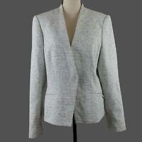 Calvin Klein Womens Blazer Size 16 Gray White Angled Front Open Office Career