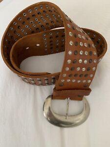 Tan Leather Studded  Belt