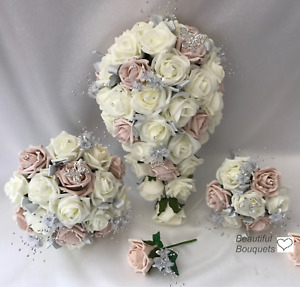 Wedding bouquets Flowers blush pink Butterfly Bride Bridesmaid Flower Girl Wand