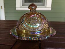 Amber Depression Glass Covered Candy Nut Butter Cheese Dish with Domed Lid