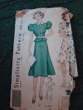 "SIMPLICITY 2346 12 1930'S /  1940's CUTE VINTAGE DRESS PATTERN BUST 30"""