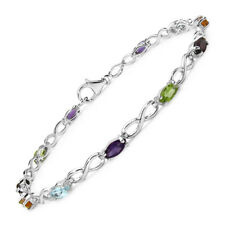 6 X 3 mm Marquise Shaped Multi Gemstone Bracelet in 925 Sterling Silver
