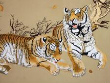 """Stickbild """"Tiger in Goldtönen"""" chinesisches Bild, Stoffbild, Stickerei"""