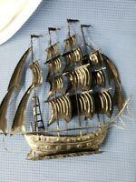 """Metal Sail Ship Decor Pirate Boat Wall distressed steel art. Aprox. size 15""""x14"""""""