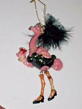December Diamonds Lace Flamingo Holding Martini Christmas Ornament - Adorable!!