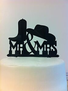 Western Boot Hat MR & MRS Wedding Cake Topper MADE In USA…..Ships from USA