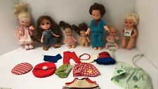 Lot 7 Vintage Mini Small Doll + Old Clothes Remco Mattel Playmates Free Ship