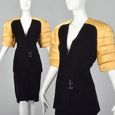 M 1980s Ingrid Luhn Black Velvet Suit Gold Shoulder Jacket Pencil Skirt Set 80s
