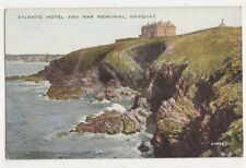 Atlantic Hotel & War Memorial Newquay Vintage Postcard 484a