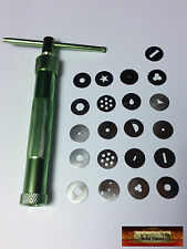 M00365 MOREZMORE Polymer Clay Tool Metal Gun Extruder + 19 Tips Set NDY