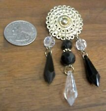Gold Clad Metal Round Medallion Black Clear Plastic Bead Strand Lapel Pin Brooch