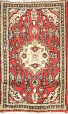 One-of-a-kind Geometric Hamadan Hand-Knotted 2'x3' Red Wool Rug