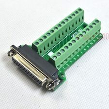 Right Angle D-SUB DB25 Female Header Breakout Board, Terminal Block Connector F