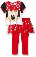 Disney Girls' 2 Piece Minnie Mouse Glitter Skegging Set, Red, 6-9M