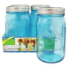Wide Mouth Quart Jars Blue Glass Mason Canning Jar 4 Pack 32Oz Elite Collection